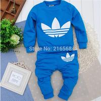 Retail Children's Sports Suits Autumn New Brand Boys Girls Suits Newborn Cotton Suits Leisure Kids T Shirt+Pants Suit 5 Colors