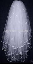 Promotion! Free Shipping High Quality Soft Bridal Illusion White/Ivory 3T Ribbon Edges with pearls Bridal Wedding Veils(China (Mainland))