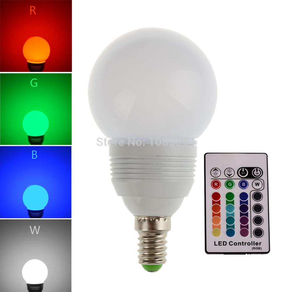 2pcs Rgb Led Bulb Spotlight High Power E14 3w 110v 220v Dimmable Lampada De Led Lamp With Remote