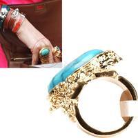 Fashion Retro Vintage Gold Ova Artificial Gem Stone Turquoise Finger Ring  #gib