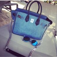 Openlady house oh hello cowhide liner bk size30 denim handbag