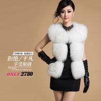 Fashion Women Import Genuine Fox Fur Sleeveless Vest Genuine Leather V-Neck Sleeveless Women Coat W003