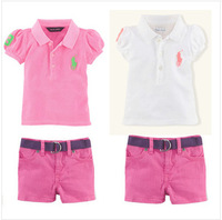 Retail polo shirt in the summer of 2014, girls lapel polo unlined upper garment, pink + pants with short sleeves,