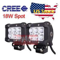 "Free UPS Shipping 2x 4"" Inch 18w Cree LED Working Light Bar Spot Beam Offroad Headlights Car Truck Trailer Tractor SUV 4x4 #4093"