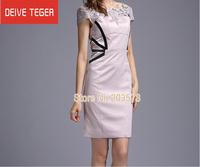 (DEIVE TEGER)Free Shipping 2014 OL Lace short sleeve  lady Pencil Dress evening dress summer celebrity  dress DQ063