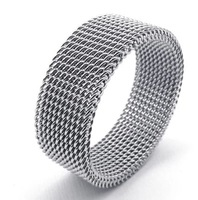 2014New Arrival 8MM  wholesale 316L Stainless Steel lovers rings net design jewelry