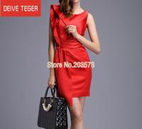 (DEIVE TEGER)Free Shipping 2014 sleeveless V- Back draped  OL lady Pencil  evening dress summer dress Red  & gray  DL073