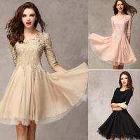 2015 New Arrival Winter Dress Ladies Prom Dress Pink/Black/khaki Party Dress Women Cute Pleated Chiffon Dress