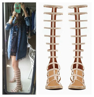Rome Fashion Star Style Thick Heel Genuine Leather Sandals Knee High Cut-outs Summer Cool Long Sandals