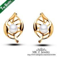 Wholesale Women Pearl Earring Hollow Out Leaf Earrings Fashion Jewelry Free Shipping