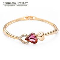 Neoglory Champange Gold Plated Austria Crystal & Rhinestone Heart Bracelets & Bangles for Women Jewelry Accessories 2014 New