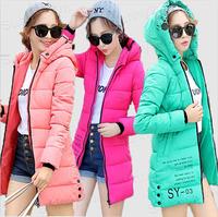Quality New Fashion 2014 Winter Korea Hooded Jacket Coat Womens slim Letter print Down Parka pink white black blue