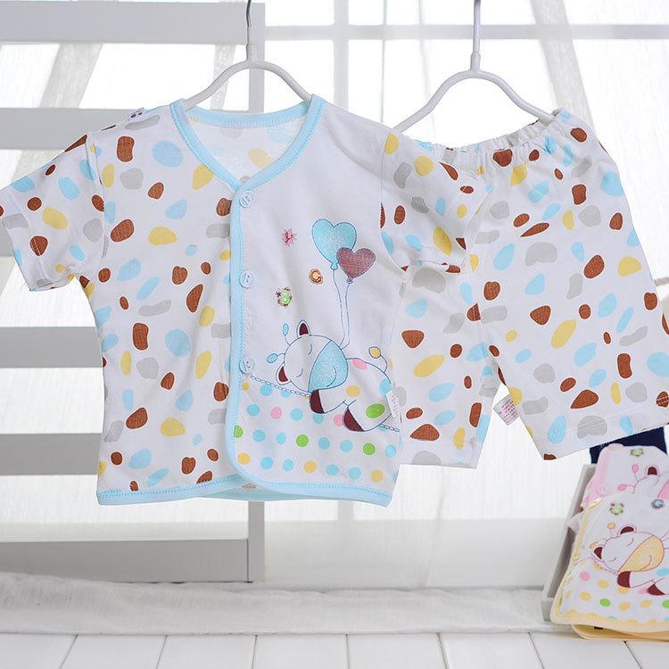 2014 Newborn Baby Clothing Sets 100% Cotton Pink/Blue/Yellow Spot Print Toddler Clothes Summer Top+Pants 2pcs FREESHIPPING(China (Mainland))