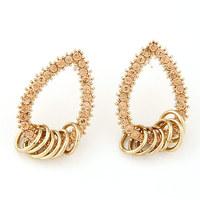Fashion Stud Earrings Female Crystal Circle Metal Tassel Silver Gold Earrings