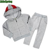 Pre-sale  retail Children's clothes set ! autumn Girls boys sports pants + Devil 3d wings hooded sweatshirt  suits  ELZ-T0335