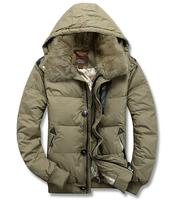 FREE SHIPPING 2014 Counter genuine men's jacket top white duck down a short paragraph rex rabbit fur collar , warm winter jacket