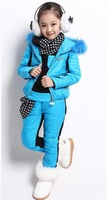 2013 winter girl three-piece dots scarves thickening three-piece suit of the girls