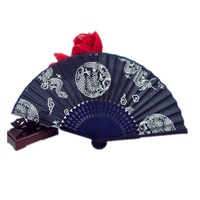 Free Shipping 50pcs/lot Orchis fabric hand fan wedding gift favor