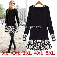 XL XXL 3XL 4XL 5XL size woman dress autumn 2014 European style plus size long sleeve party dresses for fat women free shipping