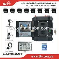 Full D1 3G WIFI GPS H.264 CCTV Car DVR 8 CH ,VR8808-3GW