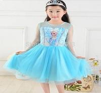 New 2014,30pcs/lot  Frozen Short Sleeve Shimmer Mesh Tutu Dress
