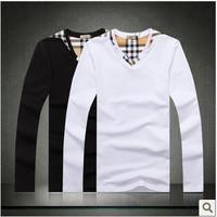 2014 luxury Men's long Sleeve T Shirt slim fit ,brand shirts for men ,designer shirts,3XL boy london shirt clothes