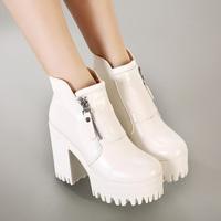 Vingtage White  2014 Womens Punk Goth Chunky Heels Platform Ankle Boots Shoes Side Zip Eur35 Eur36 Eur37 Eur38 Eur39