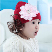 2014 Hot Pearl Big Flower And  Two Heads Cow With Two Wigs Baby Beanies Beanie With Beard 8 Colors