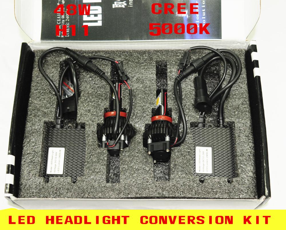 CREE 48W LED HEADLIGHT CONVERSION KIT H11 5000K H/L BEAM Replace Head lamp(China (Mainland))
