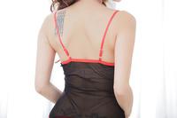 Sexy Lingerie Set Langerie Fantasias Eroticas Erotic Lingerie Black Costume Corset Dress+Stocking+Garters+G String B77