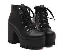 Vingtage Hot 2014 New Womens Punk Goth Chunky Heels Platform Ankle Boots Shoes Eur35 Eur36 Eur37 Eur38 Eur39