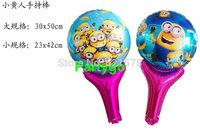 Hot Sale 100pcs/lot 30*50cm Despicable me stick balloon cartoon foil balloon for Party Wedding decoration cute Minions Ballon