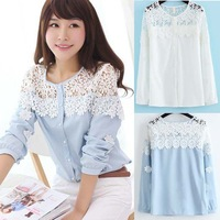 Superb! 2014 New 1PC Women Lace Shirt Splicing Floral Long Sleeve Chiffon Blouse Tops Free Shipping&Wholesale Alipower