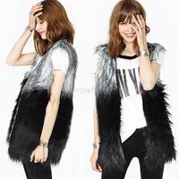Women Faux Fur Sleeveless Shaggy Vest Coat Jacket Waistcoat Outerwear 6 8 10 12Free Shipping