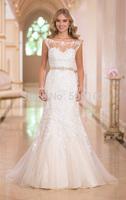 Elegant Bateau Appliqued Lace Sleeveless Trumpet Low Back Sash Mermaid Wedding Dresses Vestidos