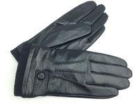 Black Velvet Lining 3 Lines Mens Genuine Leather Wrist Gloves Warm Winter Gloves
