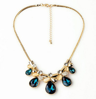 Star Jewelry Fashion 2014 New Gold Plated Elegant Flower Crystal Choker Necklace Women Statement necklaces & pendants Gift