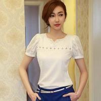 Superb! 2015 New 1PC Lady Women Lace Short Sleeve Shirt V Neck Doll Chiffon Plus Size Blouse Tops Alipower
