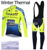 TINKOFF SAXO BANK 2014 Thermal Fleece Cycling Jersey bib kit long Sleeve bib pants Cycling tight ropa Ciclismo fitness clothes