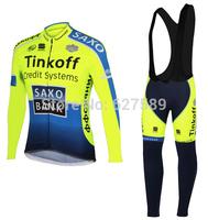 TINKOFF SAXO BANK 2014 Cycling Jersey bib kit long Sleeve bib pants Cycling tight ropa Ciclismo fitness clothes BICYCLE MTB