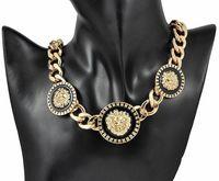 Hot sale Women Gold/Black Three Lion Head lionhead Chunky Choker Chain Link Necklace Rihanna Celebrity Jewelry