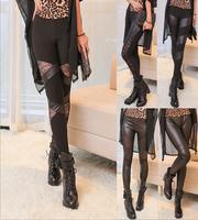 New 2014 Women's Sexy Black Leggings for Women Faux Leather Leggings Boots Pants Skinny 7 Pattern Style Free Size