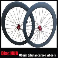 23mm width Cyclocross bicycle wheelset Disc Brake hub 700c 60mm tubular carbon bike wheel 3K matte or Glossy Front 24 rear 24