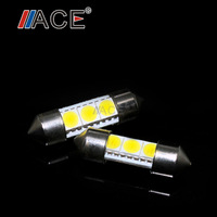 2pcs 36mm 3SMD 5050 LED White Canbus Car License Plate Light Dome Festoon Lamp Door Light Source Compartment Light Silver Shell