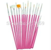 2014 HOT! 15pcs pink Nail Brush Brushes Set Nail Paint Design Pen Tools for False Nail Tips UV Nail Gel Polish