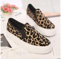 New brand arrival fashion 2014 women platform sneakers Korea style leopard height increasing women walking loafers shoes WS7126