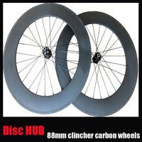 23mm width Disc Brake hub carbon road bike wheels Front 24 rear 24 holes 700c 88mm clincher carbon fiber bicycle wheel