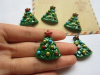 Free Shipping! Min. order is $10 (mix order), Resin Christmas Tree,  Resin Flatback Cabochons for Hair Bow Center  (26*30mm)