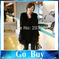 Free shipping 610217 Women Winter Faux Fur Vests Fashion Black Warm Long Sleeveless Vest Jacket Coat With Waistcoat Outwear