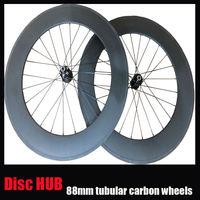 23mm width 3k finish tubular 88mm wheel 700c carbon disc brake hub road  bike wheels Mac aero 494 cnspoke Alloy external nipple